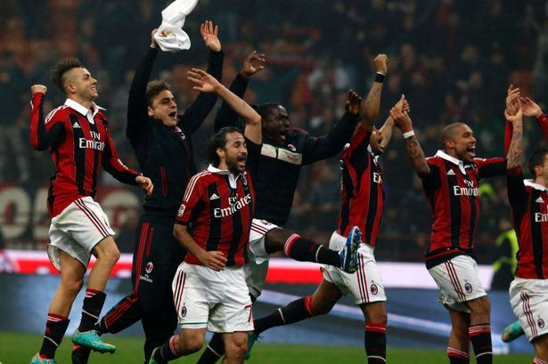 AC+Milan+celebrates+winning+at+the+end+of+their+Italian+Serie+A+soccer+match+against+Juventus