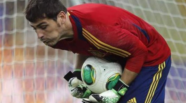 Spain's goalkeeper Casillas saves a ball during a training session in Rio de Janeiro