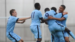 Manchester City players celebrate after Manuel Garcia Alonso scores a goal during the match at the Platt Lane Training Ground, Manchester.